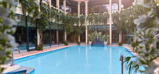 Outdoor Pool surrounded in pillars and foliage.