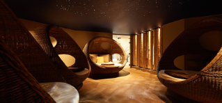 Large egg beds with a starry lit ceiling.
