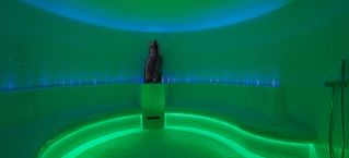 Alpine steam room glows a relaxing green with a soothing large crystal in the middle.